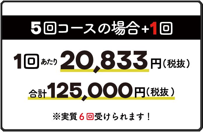 5回コースの場合1回20,833円